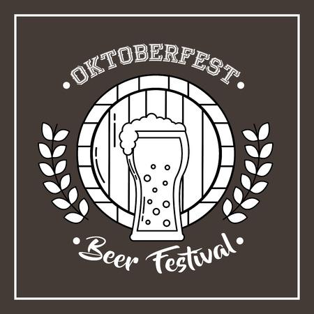 oktoberfest germany sign leaves barrel sticker beer vector illustration Çizim
