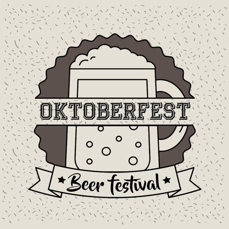 oktoberfest germany sticker sign beer celebration day festival vector illustration