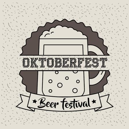 oktoberfest germany sticker sign beer celebration day festival vector illustration