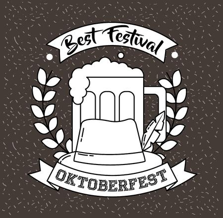 oktoberfest germany leaves beer traditional hat vector illustration