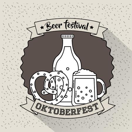 oktoberfest germany beer festival bretzel beers vector illustration Stock Vector - 110085790