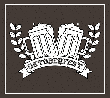 oktoberfest germany leaves beers ribbon sign vector illustration  イラスト・ベクター素材