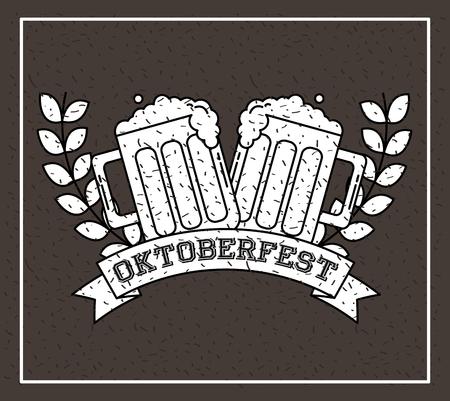 oktoberfest germany leaves beers ribbon sign vector illustration Illustration