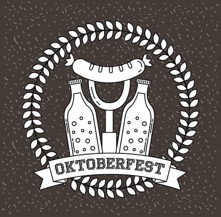 oktoberfest germany label fork sausage bottles drinks vector illustration