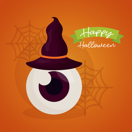 happy halloween day witch hat eye spiderwebs ribbon sign vector illustration Illustration