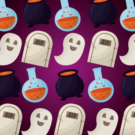 happy halloween day tombs potions ghosts and boilers vector illustration Çizim