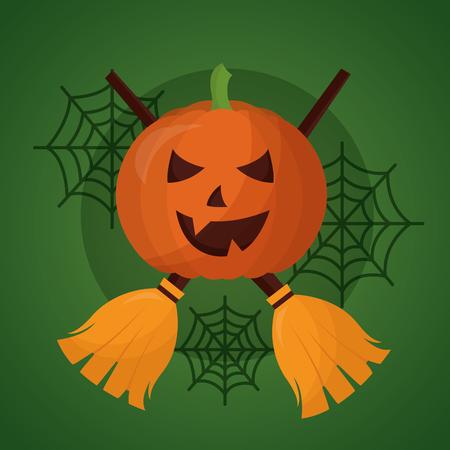 happy halloween day pumpkin spiderwebs brooms vector illustration