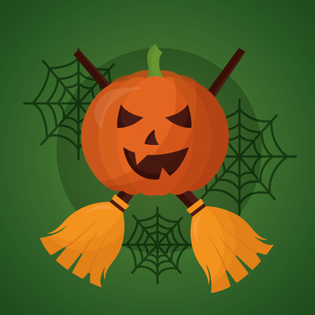 happy halloween day pumpkin spiderwebs brooms vector illustration