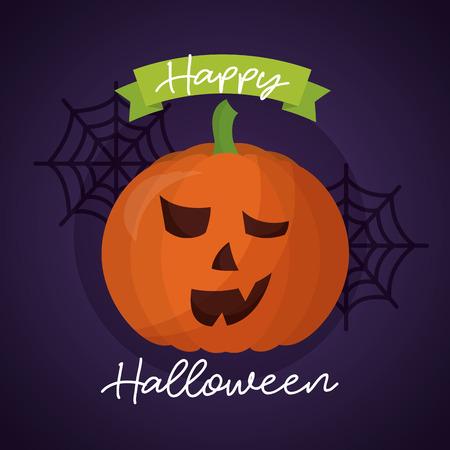 happy halloween day pumpkin ribbon sign spiderwebs vector illustration