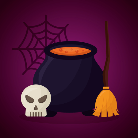 happy halloween day broom boiler potion spiderweb skull vector illustration Illustration