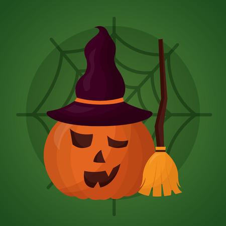 happy halloween day pumpkin witch hat broom spiderweb vector illustration