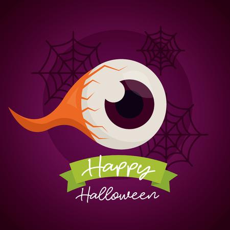happy halloween day creepy eye spiderwebs ribbon sign vector illustration