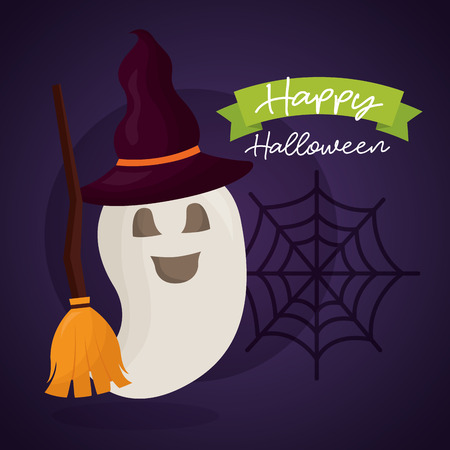 happy halloween day ghost using witch hat broom spiderweb vector illustration