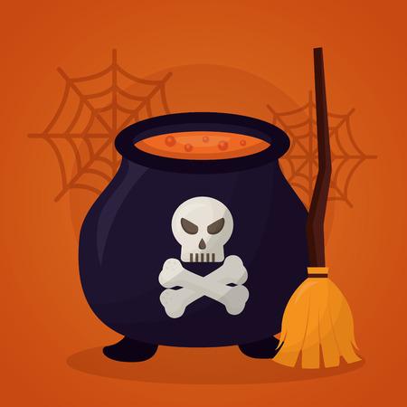 happy halloween day boiler potion broom skull danger vector illustration Çizim