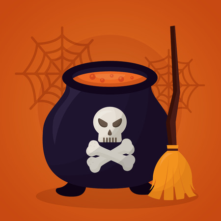 happy halloween day boiler potion broom skull danger vector illustration Illustration