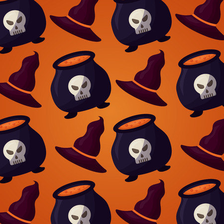 happy halloween day witch hats boilers skulls potions background vector illustration