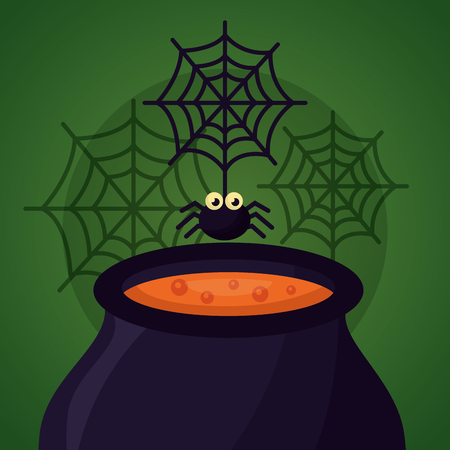 happy halloween day potion boiler spider vector illustration Çizim