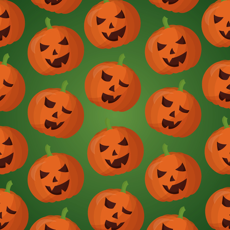 happy halloween day pumpkins creepys faces background vector illustration