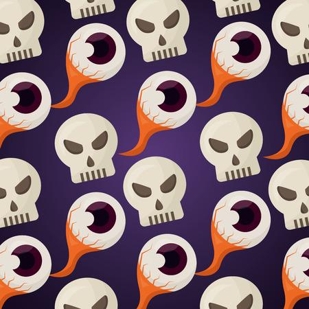 happy halloween day creepy eye skulls background vector illustration Illustration
