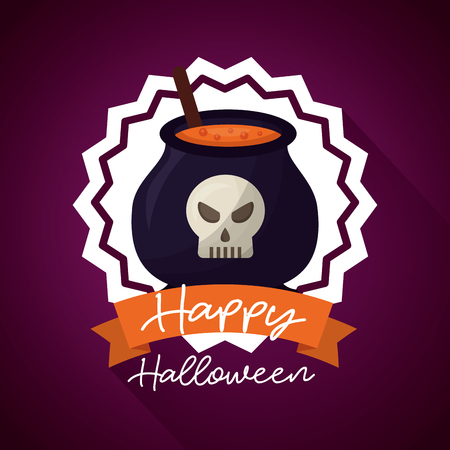happy halloween day sticker boiler potion skull ribbon sign vector illustration