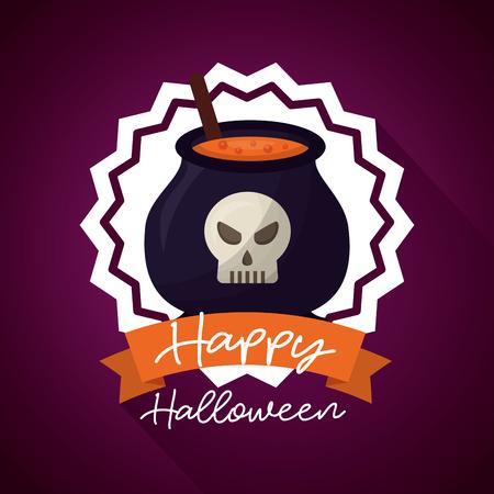 happy halloween day sticker boiler potion skull ribbon sign vector illustration