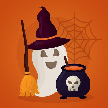 joyeux jour halloween fantôme balai chaudière potion illustration vectorielle