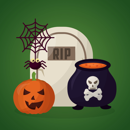 happy halloween day pumpkin spider rip tomb and boiler potion vector illustration