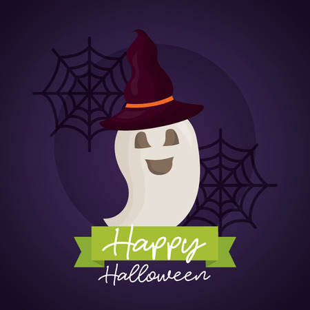 happy halloween day ghost using witch hat smiling spiderwebs vector illustration