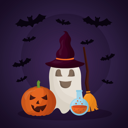 happy halloween day ghost using witch hat broom pumpkin potion bats vector illustration