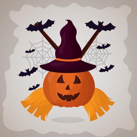 happy halloween day brooms pumpkin bats vector illustration