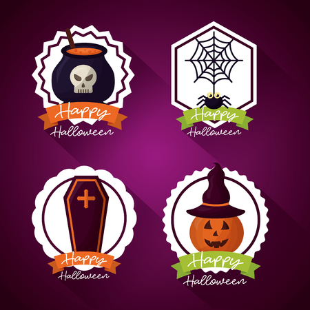 happy halloween day stickers spider tomb pumpkin bolier potion vector illustration