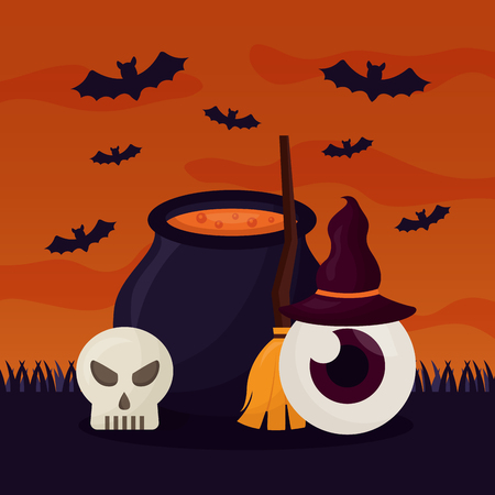 happy halloween day cemetery boiler potion bats vector illustration