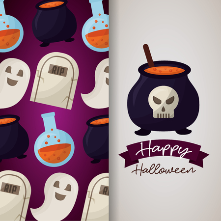 happy halloween day banner boiler skull potion tombs ghost background vector illustration