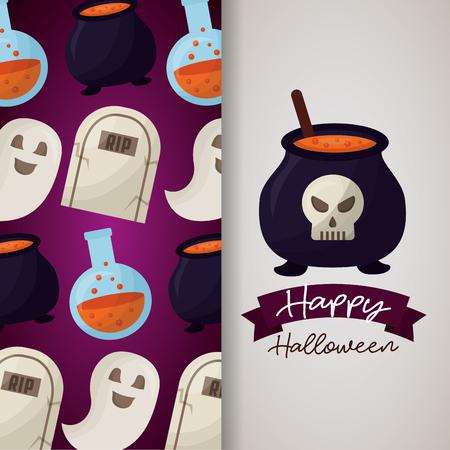 happy halloween day banner boiler skull potion tombs ghost background vector illustration Foto de archivo - 110085811