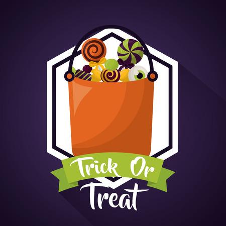 Feliz día de celebración de halloween pegatina bolsa de dulces cinta truco o trato ilustración vectorial