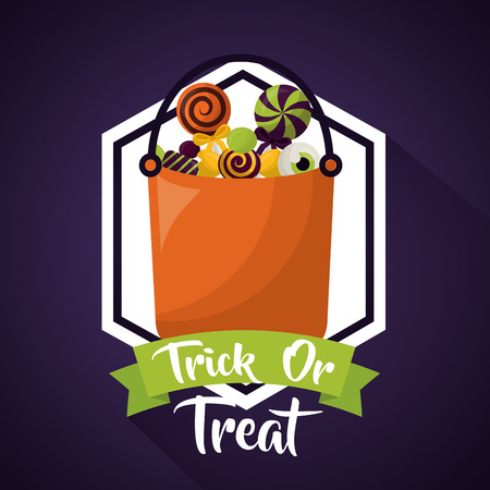 happy halloween celebration day sticker candy bag ribbon trick or treat vector illustration