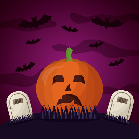 happy halloween day sad pumpkin creepy cemetery bats vector illustration