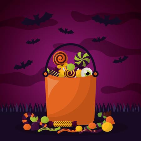 happy halloween-feestdag begraafplaats snoepzakken vleermuizen vector illustratie