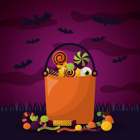 happy halloween celebration day cemetery candys bags bats vector illustration