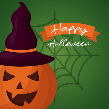 happy halloween day ribbon sign pumpkin using witch hat vector illustration