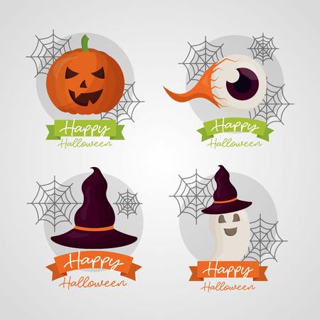 happy halloween day stickers pumpkin creepy eye ghost witch hat celebration vector illustration