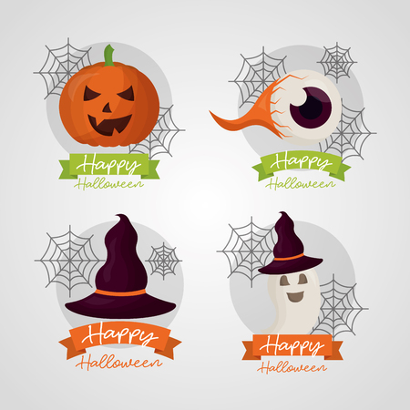 happy halloween day stickers pumpkin creepy eye ghost witch hat celebration vector illustration