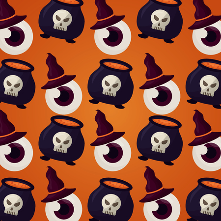 happy halloween day boiler potions eye using witch hats background vector illustration
