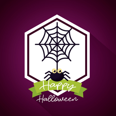happy halloween day figure sticker spiderweb ribbon sign vector illustration Çizim