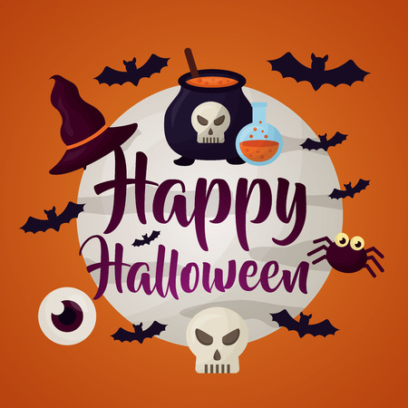 happy halloween day moon sign bats skull eye spider and bolier potion vector illustration Illustration