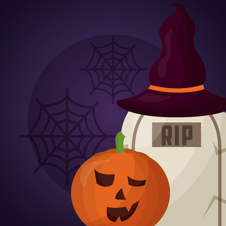 happy halloween day pumpkin tomb using witch hat vector illustration Illustration