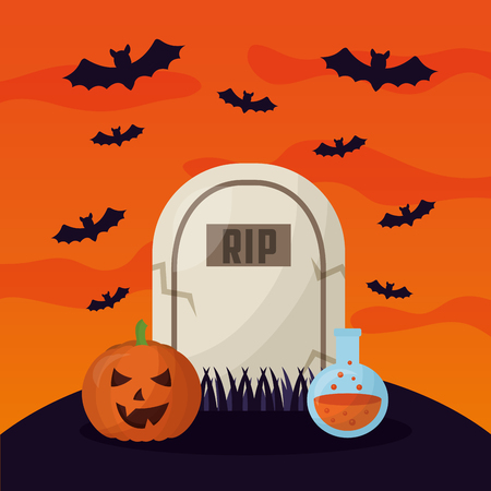 happy halloween day rip tomb potion pumpkin smiling bats vector illustration Çizim