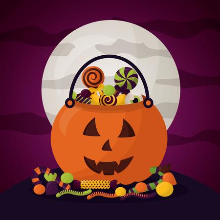happy halloween celebration day moon pumpkin candys vector illustration