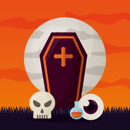 happy halloween day cemetery tomb skull eye potion vector illustration