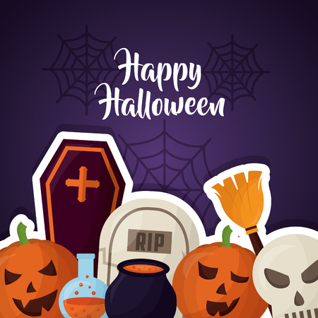 happy halloween day tombs broom pumpkins potion boiler and skull vector illustration